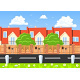 Houses in a Row Beside the Road - GraphicRiver Item for Sale