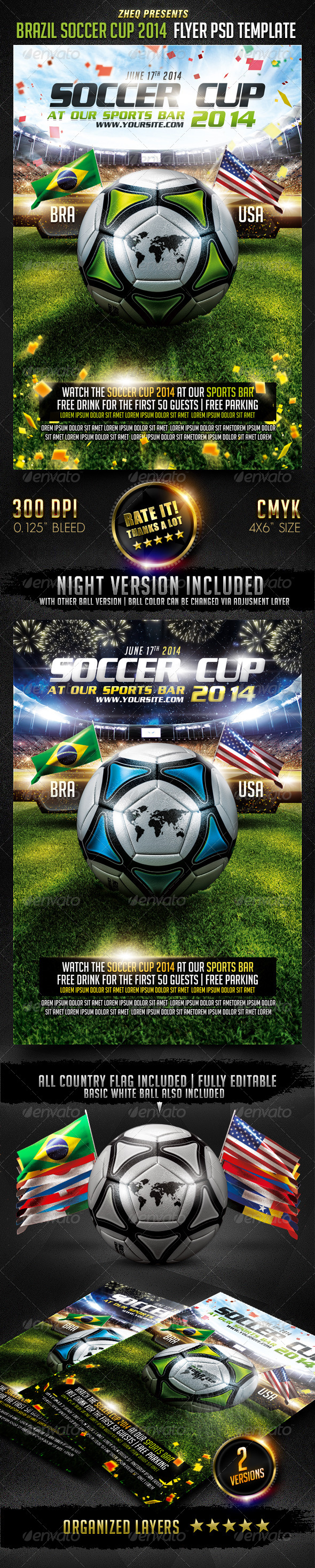 GraphicRiver Brazil Soccer Cup 2014 Flyer Template 7643626