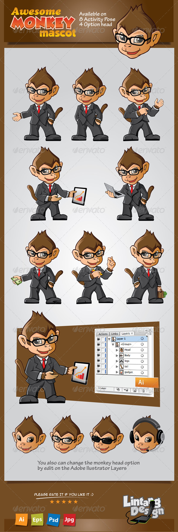GraphicRiver Monkey Mascot 7647796