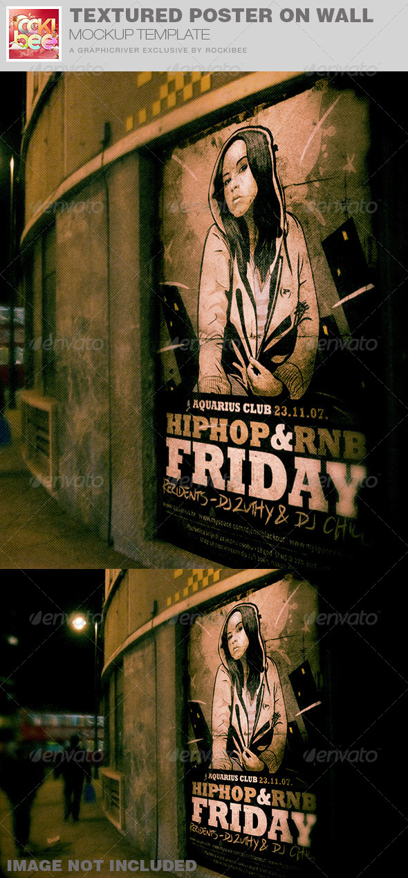 GraphicRiver Textured Poster on Wall Mockup Template 7655082