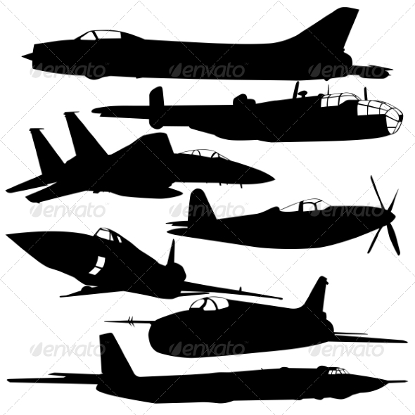 GraphicRiver Collection of Different Combat Aircraft Silhouette 7655125