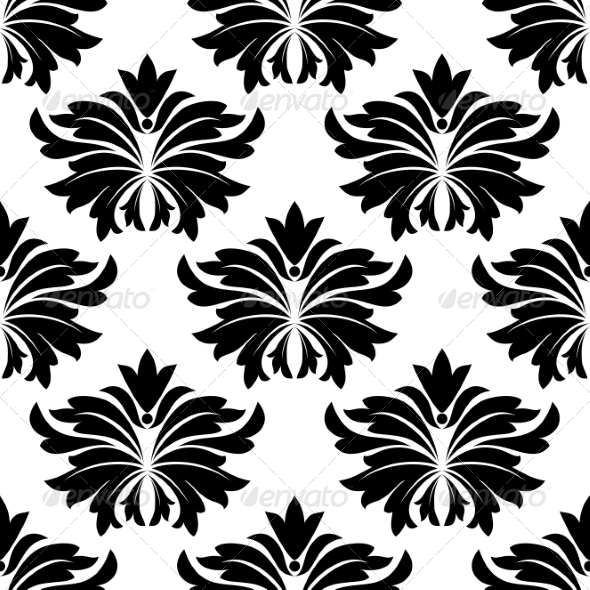 GraphicRiver Seamless Pattern with Big Black Flowers 7655155