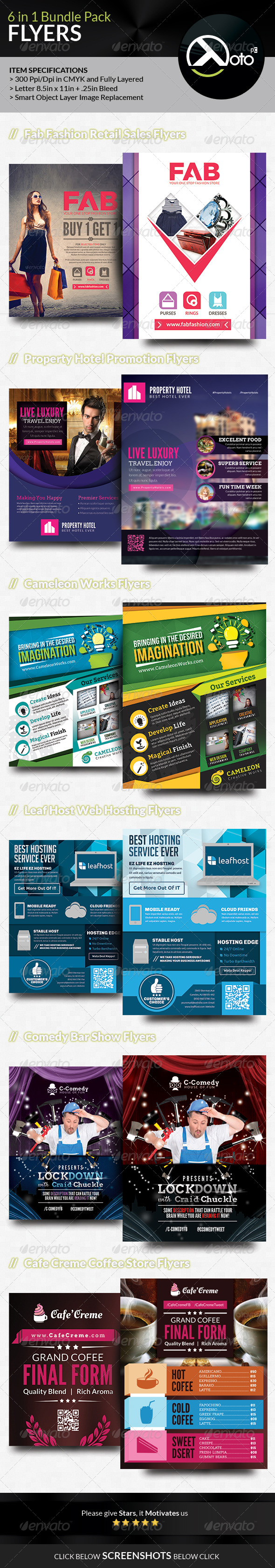 GraphicRiver 6 in 1 Mix Flyer Bundle Set 2 7651053