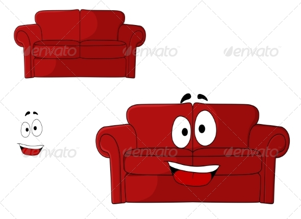 GraphicRiver Fun Cartoon Upholstered Red Couch 7655383