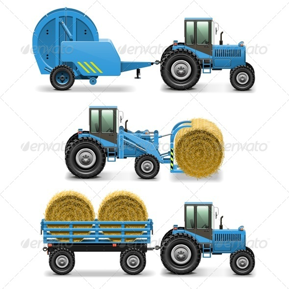 GraphicRiver Vector Agricultural Tractor Set 5 7655976
