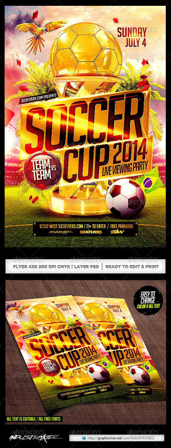 GraphicRiver Brazil Soccer Cup 2014 Football Flyer 7655981