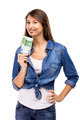 Woman holding some Euro currency notes - PhotoDune Item for Sale