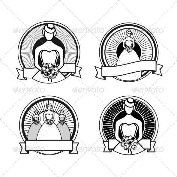 GraphicRiver Black and White Wedding Stamps 7658835