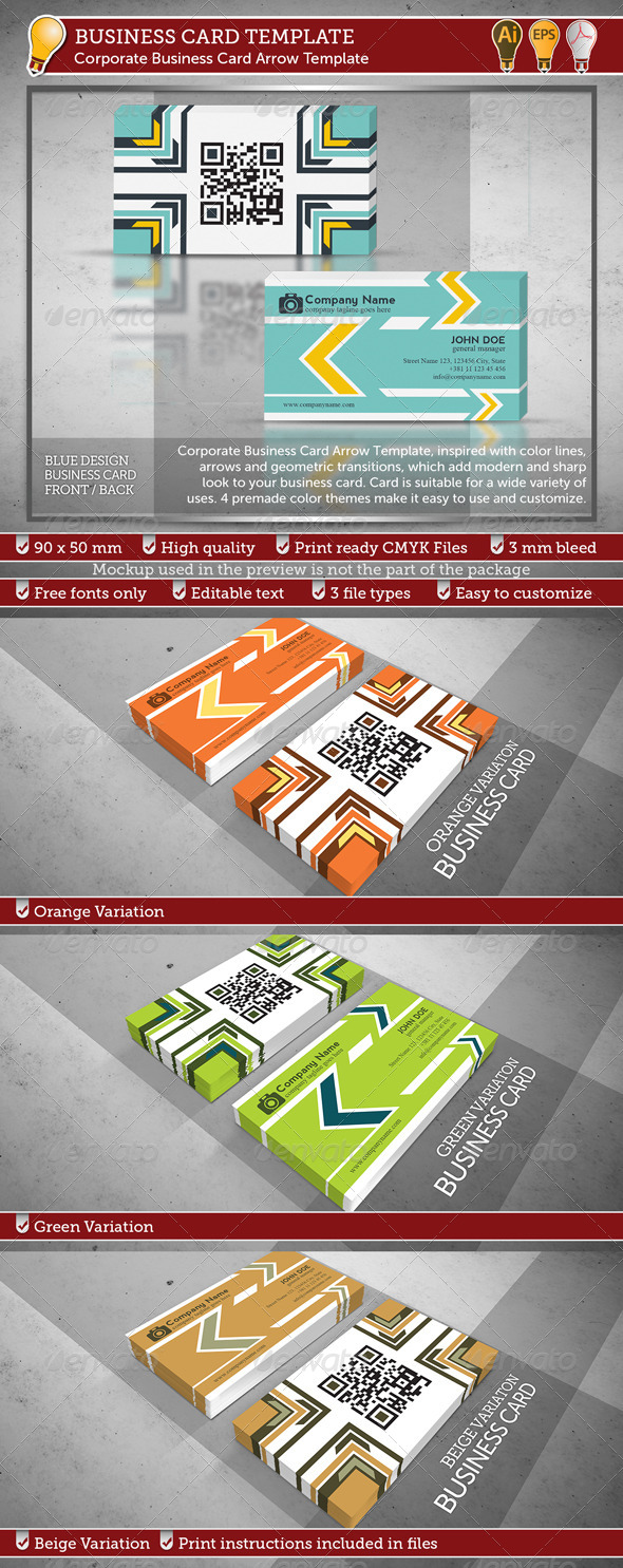 GraphicRiver Corporate Business Card Arrow Template 3908192