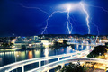 Multiple eletric lightning strikes over river in Brisbane - PhotoDune Item for Sale