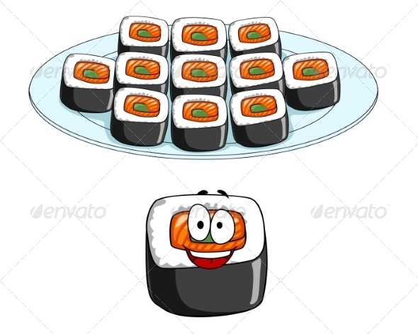 GraphicRiver Set of Cartoon Sushi Icons 7659114