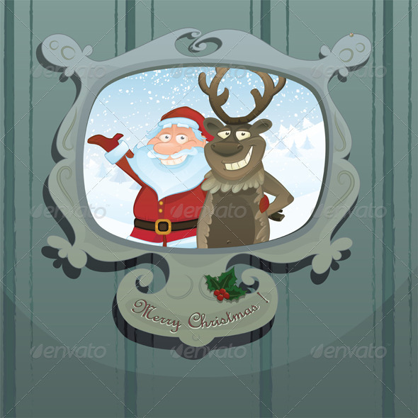 Christmas vector card with Rudolph and Santa - Christmas Seasons/Holidays