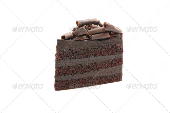 Chocolate Cake isolated in white background - Stock Photo - Images