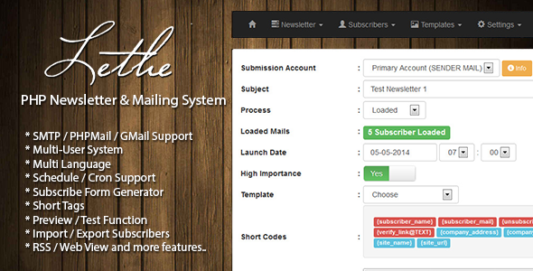 CodeCanyon Lethe PHP Newsletter & Mailing System 7663734
