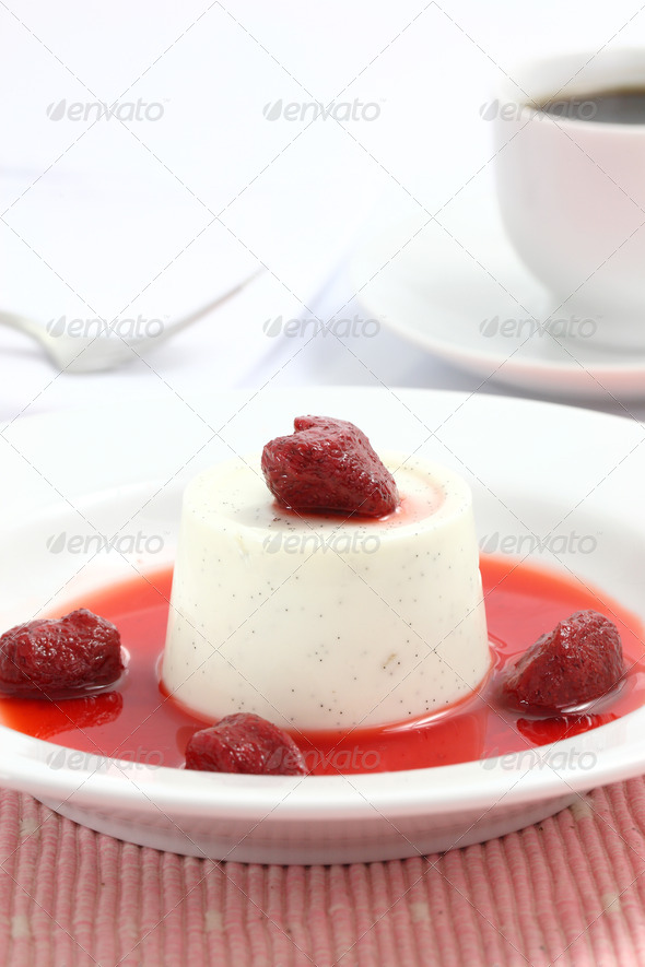 Strawberry Panna Cotta pudding isolated in white background - Stock Photo - Images