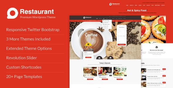 Restaurant Responsive WordPress Theme - Restaurants & Cafes Entertainment