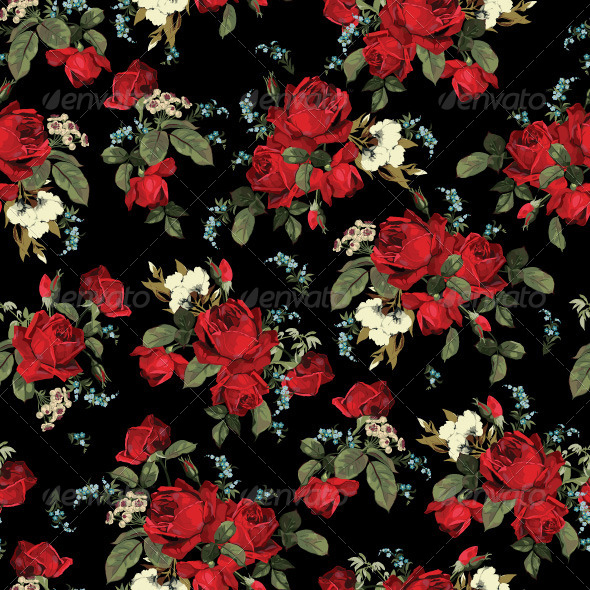 GraphicRiver Seamless Floral Pattern with Red Roses 7666050