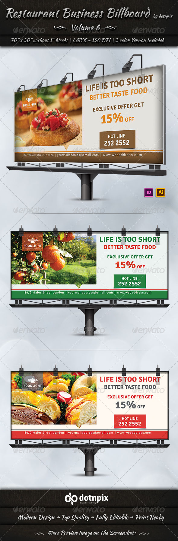 GraphicRiver Restaurant Business Billboard Volume 6 7666067