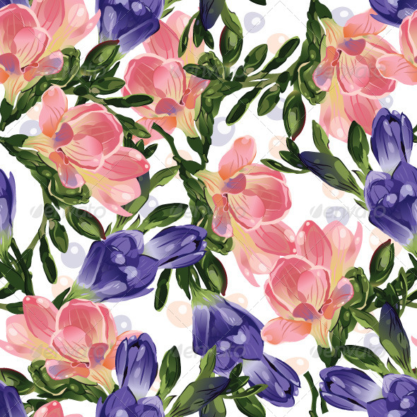 GraphicRiver Seamless Floral Pattern with Freesia 7666437