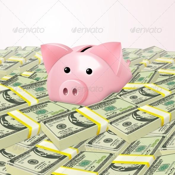 GraphicRiver Piggybank in Heap of Money 7668200