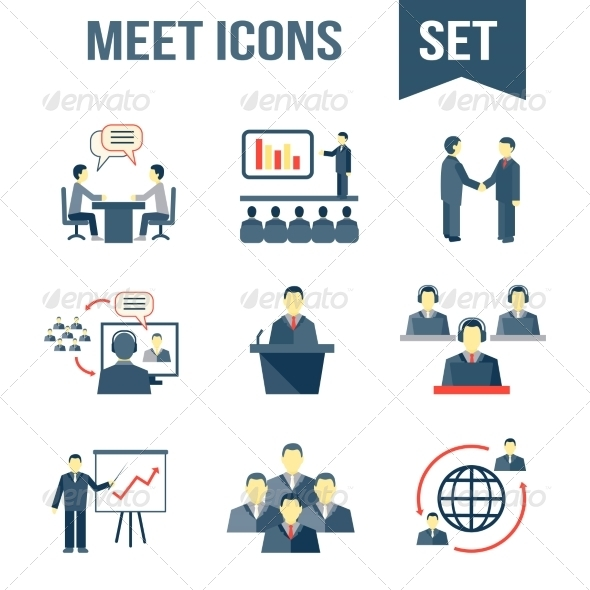 GraphicRiver Meet Business Partners Icons Set 7668319