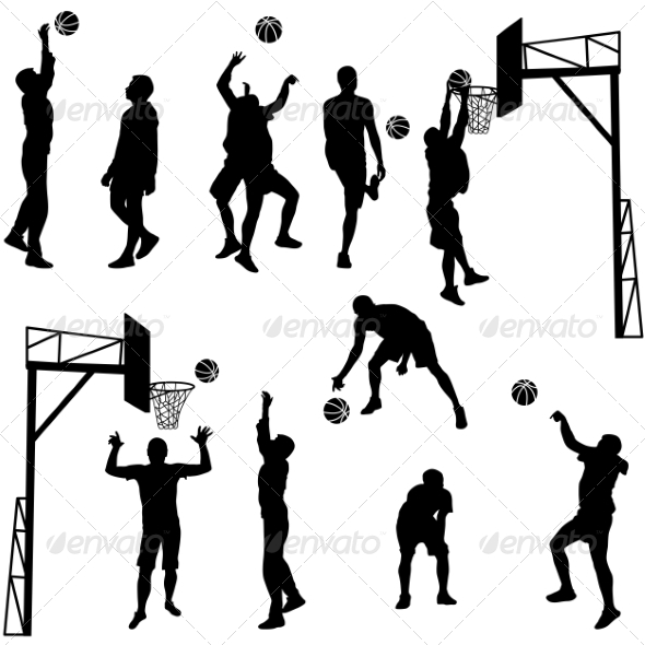 GraphicRiver Black Silhouettes of Men Playing Basketball 7671523