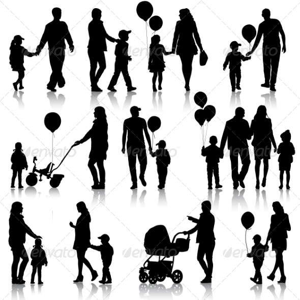 GraphicRiver Black Set of Silhouettes of Parents and Children 7671530
