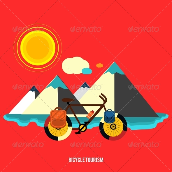 GraphicRiver Bicycle Near the Mountain Bicycle Tourism 7671791