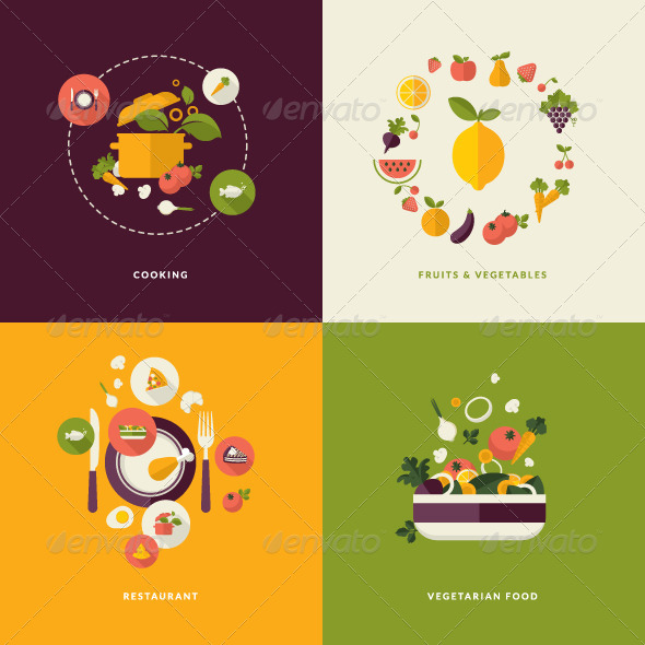 GraphicRiver Flat Design Concept Icons for Food and Drink 7671809