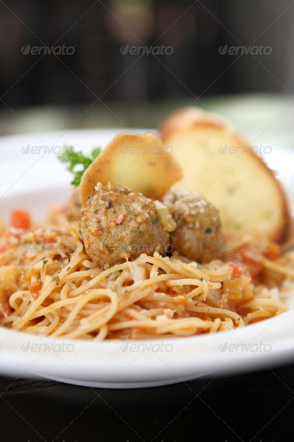 Spaghetti  Meatballs on wood background - Stock Photo - Images