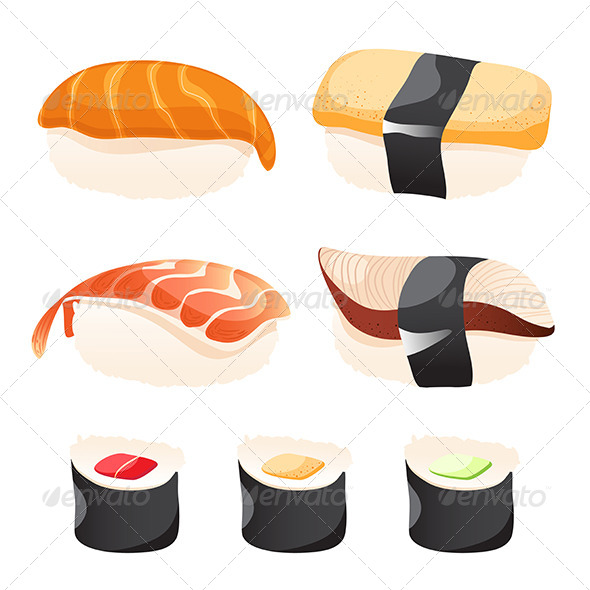 GraphicRiver Set of Different Sushi 7657469