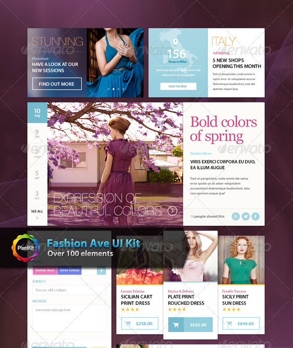 GraphicRiver Fashion Ave UI Kit 7673341