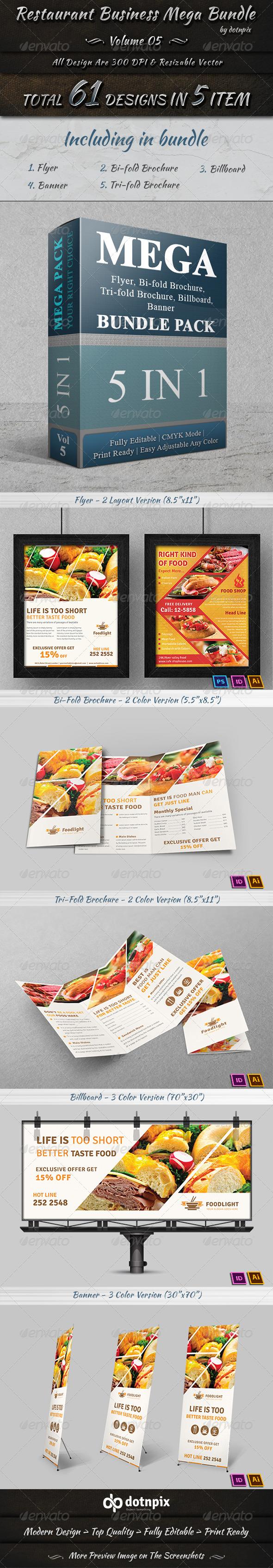 GraphicRiver Restaurant Business Mega Bundle Volume 5 7674669