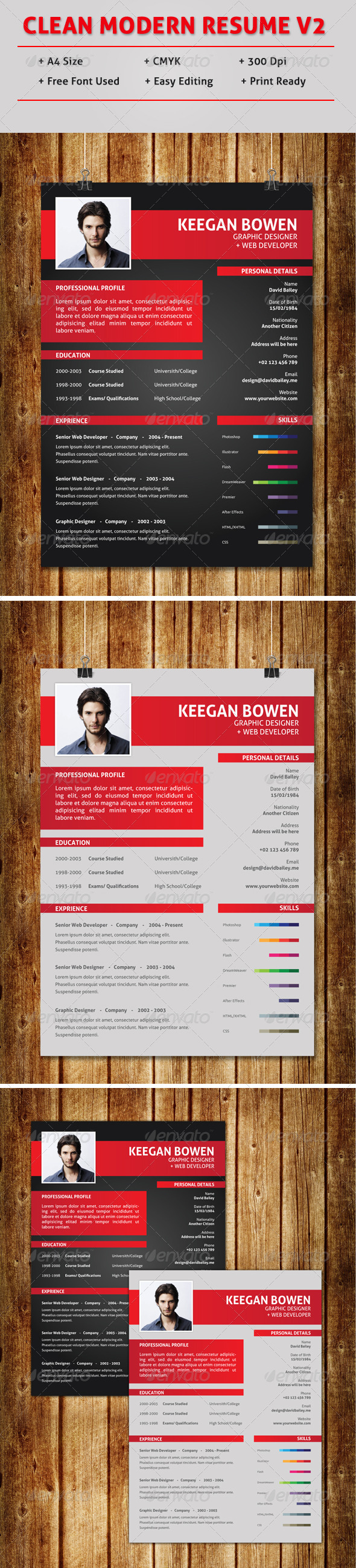 GraphicRiver Clean Modern Resume V2 7674906