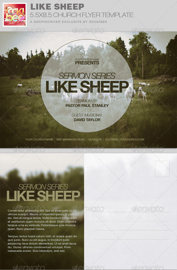 GraphicRiver Like Sheep Church Flyer Invite Template 7675470