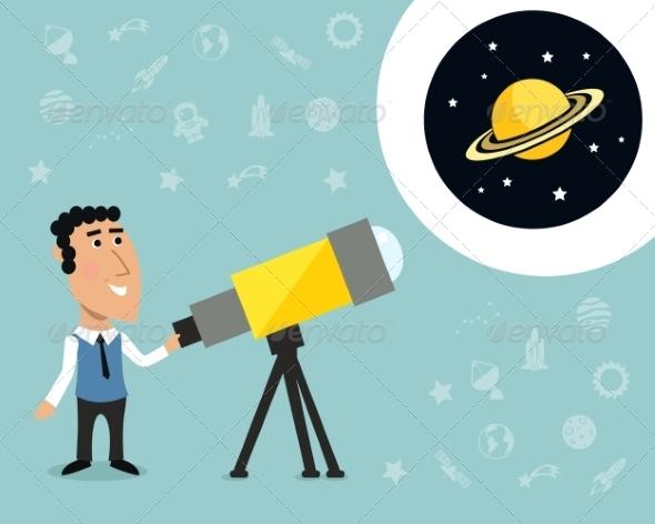 GraphicRiver Astronomer with Telescope Print 7675500
