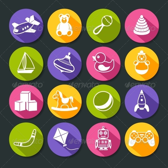 GraphicRiver Toys Round Icons Set 7675536