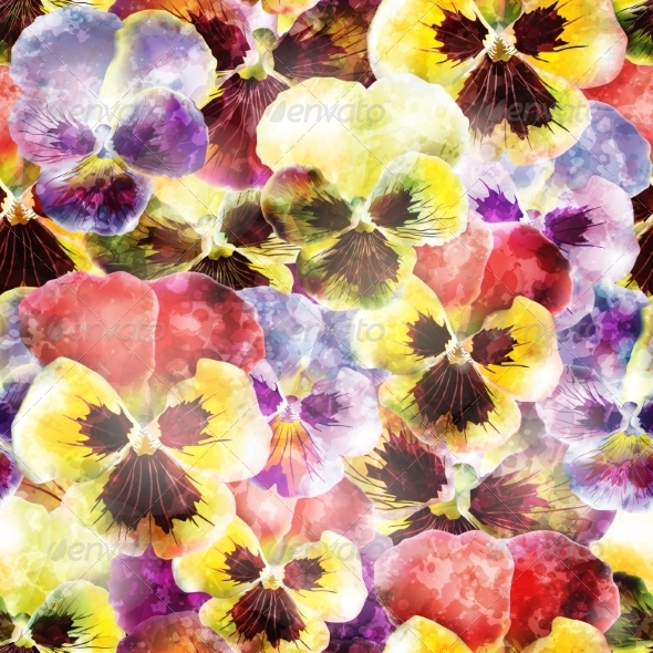 GraphicRiver Seamless Pattern of Pansy Flowers 7676594