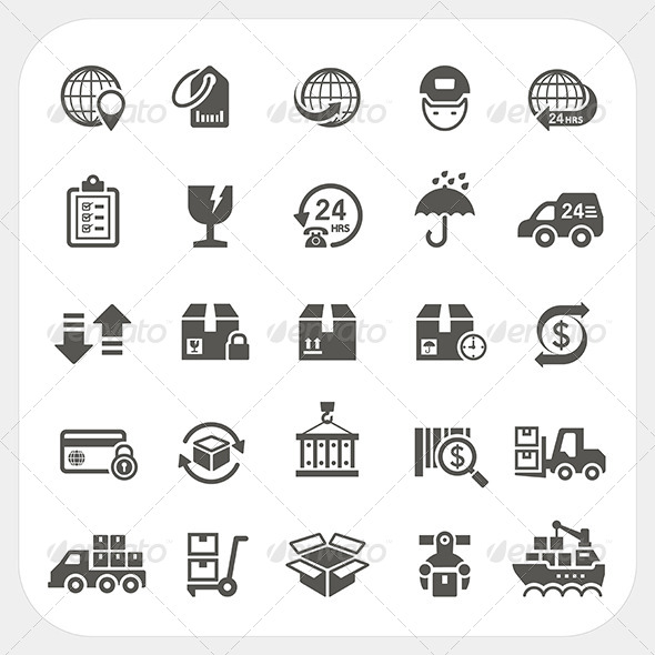 GraphicRiver Logistics and Shipping Icons Set 7679132