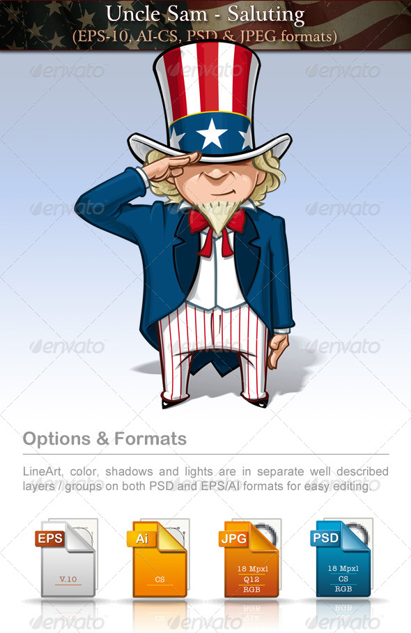 GraphicRiver Uncle Sam Saluting 7680183