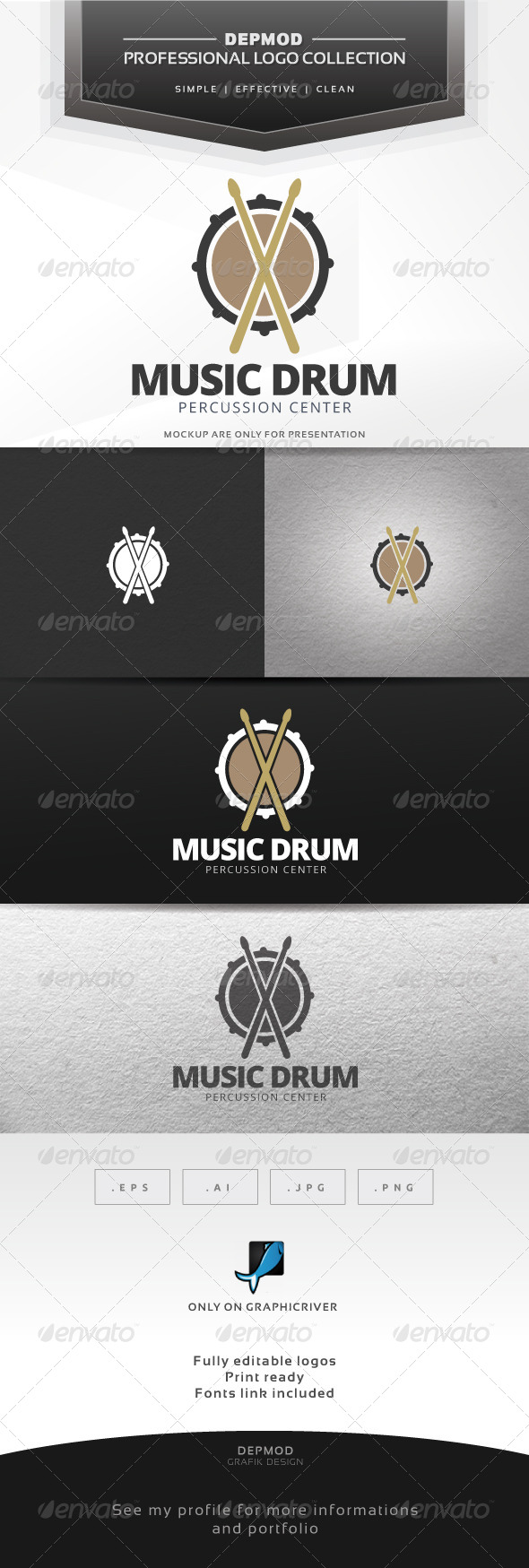 GraphicRiver Music Drum Logo 7683286