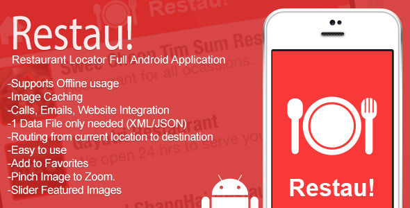 CodeCanyon Restau Full Restaurant Locator Android App 7683300