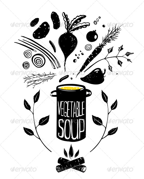 GraphicRiver Cooking Vegetable Soup Food in Black 7683978