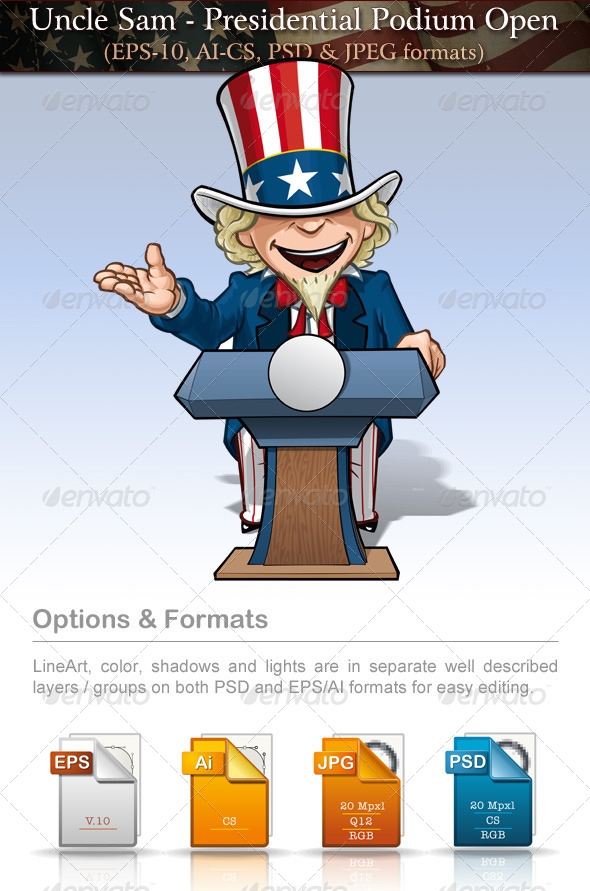 GraphicRiver Uncle Sam Presidential Podium Open 7684788