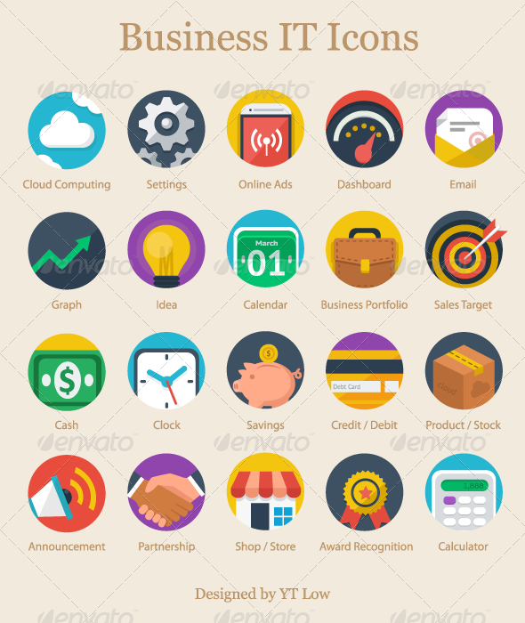 GraphicRiver Modern Flat Business IT Icons 7655403
