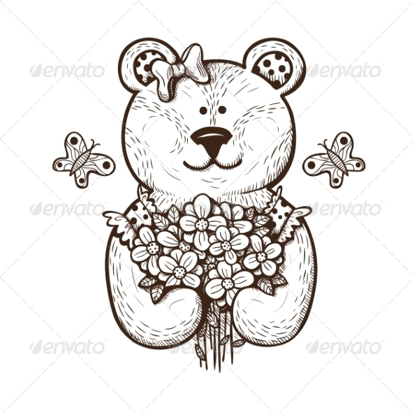 GraphicRiver Teddy Bear with Flowers 7685004