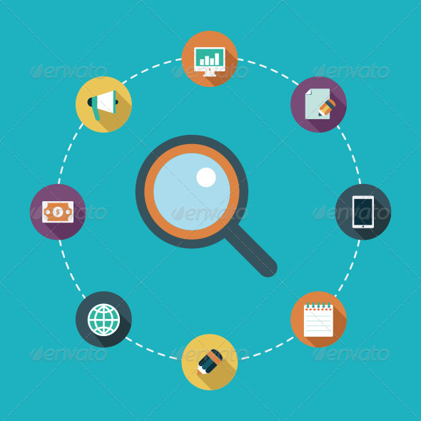 GraphicRiver Flat Icons Search Optimization 7686081