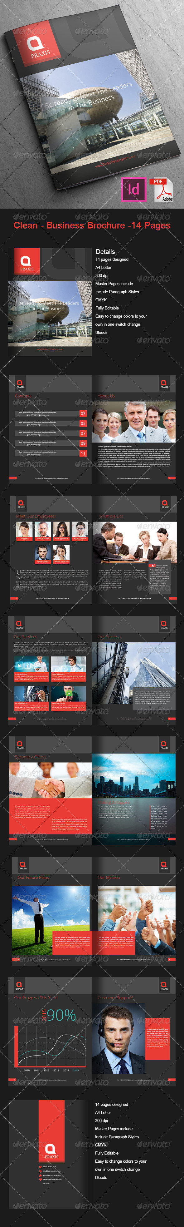 GraphicRiver Clean Business Brochure 14 Pages 7686892