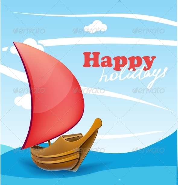 GraphicRiver Sail Boat on Sunny Seaside Background 7687322