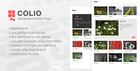 Responsive Grid Portfolio Plugin for Wordpress Colio – Responsive Wordpress Portfolio Plugin will help you create and manage multiple portfolios for your